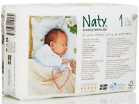 Naty eco-friendly nappies Size 1 - 4 unopened packs