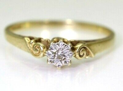 Pretty Illusion Diamond Solitaire 9ct Yellow Gold ring size M 1/2 ~ 6 1/2