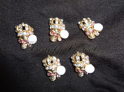 (5pcs) 3D gold skull diamond head halloween nail art charms acrylic gel NEW #H1 - 3d Halloween Acrylic Nails