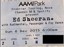 2 x Ed Sheeran Tickets Level 1 AAMI Park Melbourne Sun 6 Dec 2015 Essendon Moonee Valley Preview