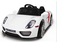Kids Electric Car Porsche Style 12v White, Remote, mp3, Real Keys, Led Lights