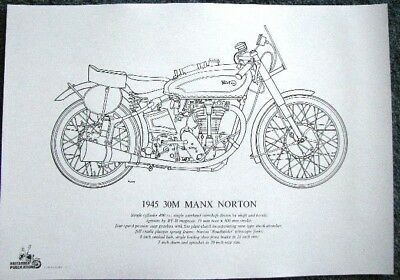 QUALITY LINE DRAWING OF 1945 30M MANX NORTON - LD11
