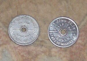TWO STATE OF WASHINGTON TAX COMMISSION 1935 SALES TAX TOKEN