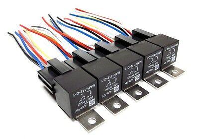 5pk 12v Spdt 60 Amp Relays Sockets Car Alarms Audio Installs Wire