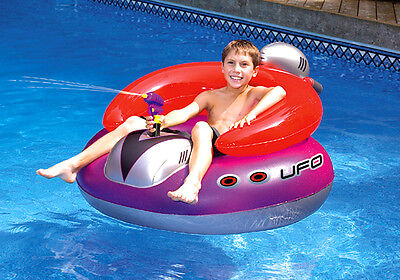 New Swimline 9078 Swimming Pool UFO Squirter Toy Inflatable Lounge Chair Float