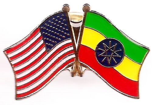 LOT OF 12 Ethiopian Friendship Flag Lapel Pins - Ethiopia Crossed Flag Pin
