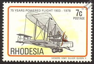 VICKERS-VIMY-SILVER-QUEEN-II-Aircraft-Mint-Stamp-1978-Rhodesia