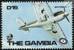RAF-Supermarine-SPITFIRE-Mk-1A-Battle-of-Britain-Aircraft-Mint-Stamp-Gambia