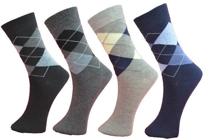 12 Paar Herren Socken Schwarz Grau Blau Karo Business Baumwolle 43-46 39-42