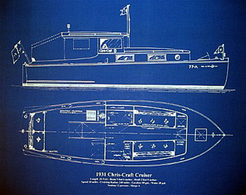 "Yacht Plan 1931 Chris Craft Cruiser Blueprint Drawing 18"" x 23""  (006)"