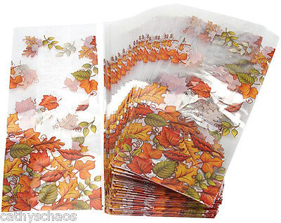 22 Thanksgiving Fall Autumn Leaves Party Treat Loot Cello Candy Goody Bags 4x9