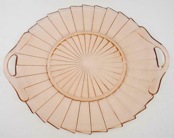 LOVELY ART DECO JEANNETTE SIERRA PINWHEEL PINK DEPRESSION GLASS CAKE PLATE #3