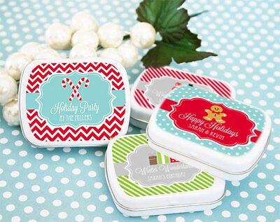 96 Personalized Winter Holiday Mint Tins Wedding Favor Boxes (Holiday Personalized Mint Tins)