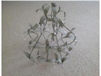 2 Metal Leaf and drop crystal Hanging Light Shade