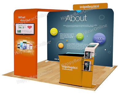 Trade Show A31 Display Exhibition Booth 10ft Tv Stand Display Shelves Header