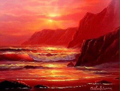 Original Oil Hand Painted Christian Riese Lassen Sunset