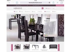 Noir/Black Glass dining table & chairs - Harveys