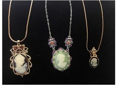 New 3 Pcs Lot Party Vintage Style Cameo Crystals Rhinestone Necklaces S103D1-2
