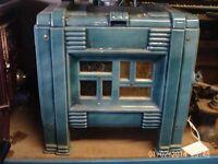 french blue enamel wood burning stove