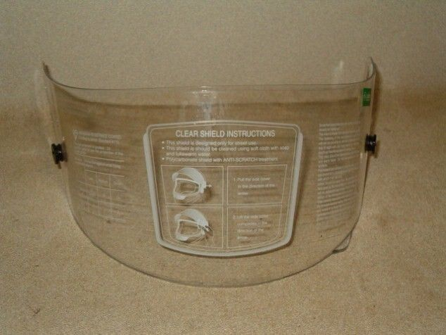 """Lot of 10 """"Racer-1"""" Replacement Clear Face Shield for KBC Helmet"""