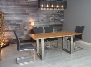 FREE SHIPPING Table bois d'acacia avec 4 chaises  - Live edge acacia table with 4 chairs