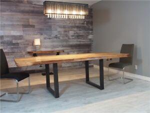 Table à manger en bois d'acacia massif live edge avec extensions