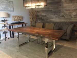 Table de cuisine en bois de rose gris massif live edge 72 x 40