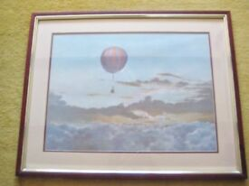 Very Attractive And Good Sized Art Print Of A Hot Air Balloon.