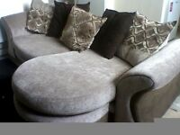 LARGE ROUND CORNER SOFA: Left Hand Round corner Sofa Charcoal / Natural ( crème ) Good Condition