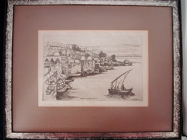 Signed Framed Jacob Eisenberg Etching Tiberias on the Lake of Galilee