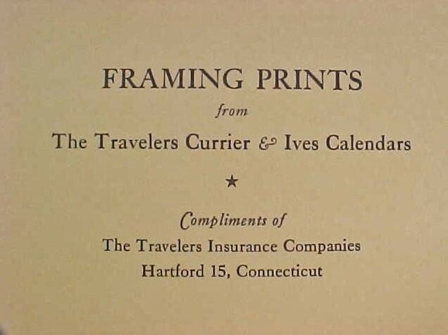 TRAVELERS CURRIER & Ives Calendars 1954 - Full Year of 12 Vintage ...