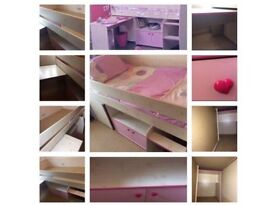 Dreams Quality Mid Sleeper Bed , Pull Out Desk, Cupboard, Shelf, Play Den