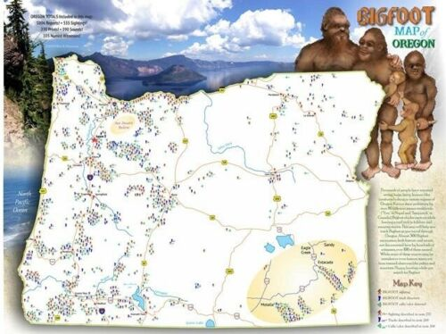 BIGFOOT Map of Oregon 2 sided poster form