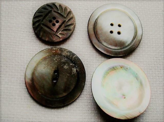 4 Assorted Vintage Antique Gray Mother of Pearl Shell Buttons
