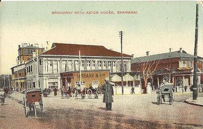 Broadway with Astor House, Shanghai, China, alte Ak um 1910