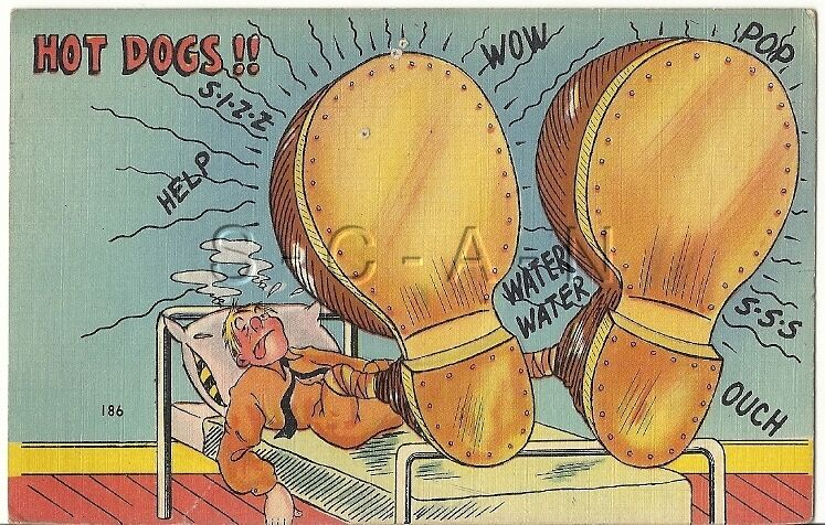 WWII Original PM 1942 Linen Army Comic PC- Exaggerated Feet- Boots- Hot Dogs!