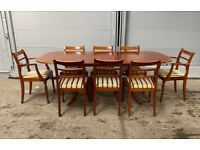 Vintage McIntosh Dining Room Table with 6 Chairs and 2 Carvers (Arms) Extending Leaf Mid Century