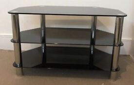 Black Glass TV Stand - excellent condition!
