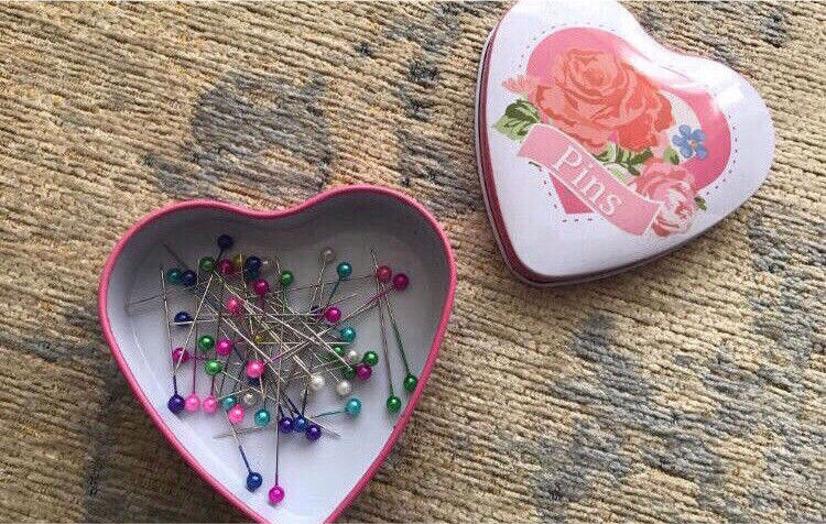 C brand new Heart tin of pins
