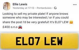 Personalised reg for sale - EL07 LEW
