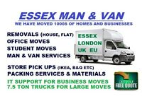 HOUSE REMOVALS, MAN AND VAN HIRE, LUTON VAN IN BASILDON, GRAYS, ESSEX. MAN WITH A VAN IN BASILDON