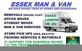 Man and Van hire, House Moving and Removals in Basildon, Wickford, Rayleigh, Man with Van in Essex.