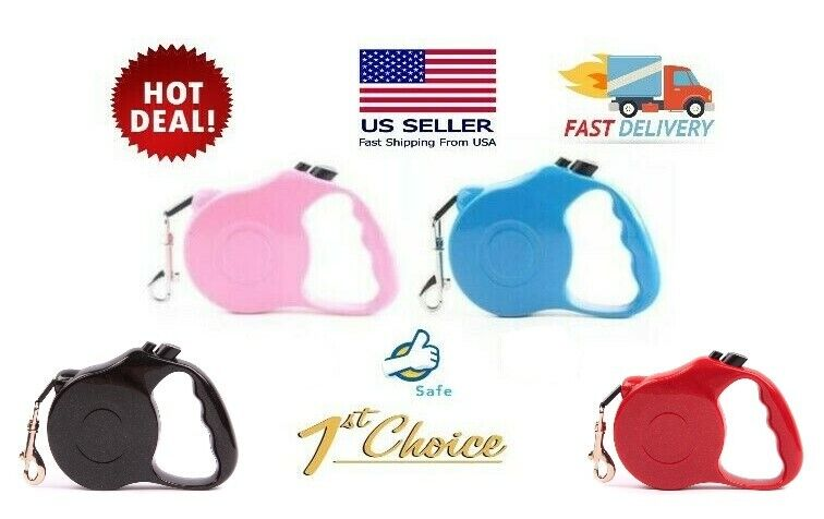 Dog Leash Retractable 16.5ft ~ Pink / Blue / Black / Red ~ Pet Auto Traction Dog Supplies