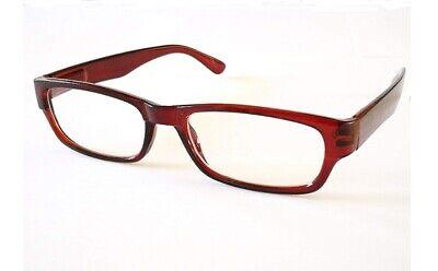 Lesebrille mit Etui Federscharnier dünne Gläser klein leicht flach braun +3,0