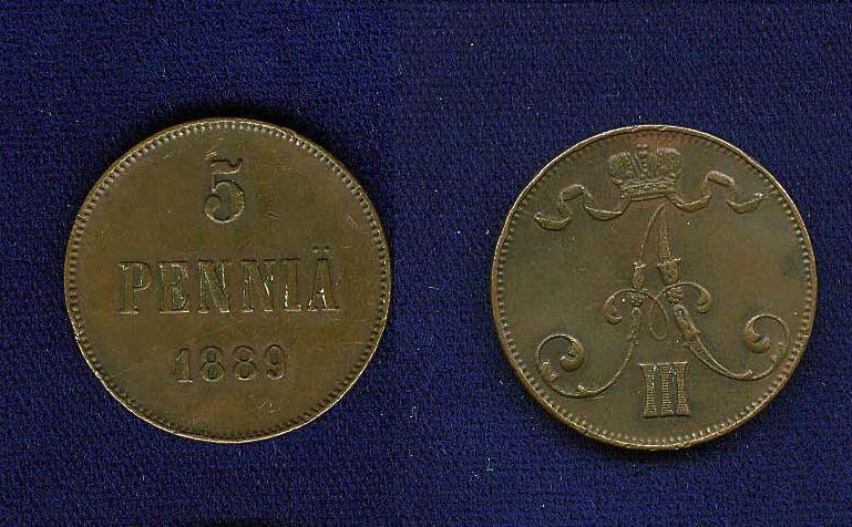 FINLAND ALEXANDER III (RUSSIA) 1889  5 PENNIA COIN  XF+