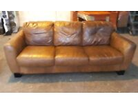Vintage leather 2 seat and 3 seat sofas