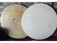 Two Bass Drum Heads - Vellum, Skin.
