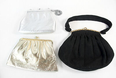 1920s Handbags, Purses, and Shopping Bag Styles Lot of 3 Vintage 1920's Style Clutch Satchel Hand Bag Purse Gold Silver Black $79.99 AT vintagedancer.com