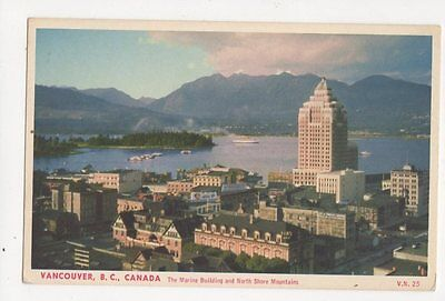 Vancouver Marine Building & North Shore Mountains Canada Vintage Postcard 264a
