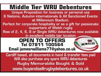 Wales Rugby Debenture Seats Available with Face Value 6 Nations - Wales v England & Ireland 6Nations